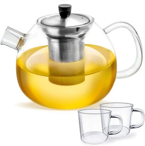 smartpeas Teekanne aus Glas 1500 ml mit 2 Tassen Edelstahlfilter