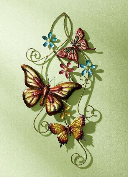 Wanddekoration mit Schmetterlinge bunt Metall