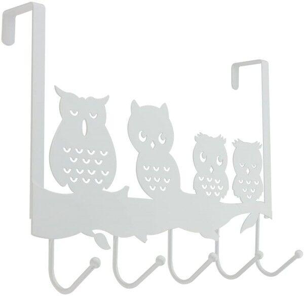 Türhängeleiste Eule mit 5 Haken aus Metall weiß